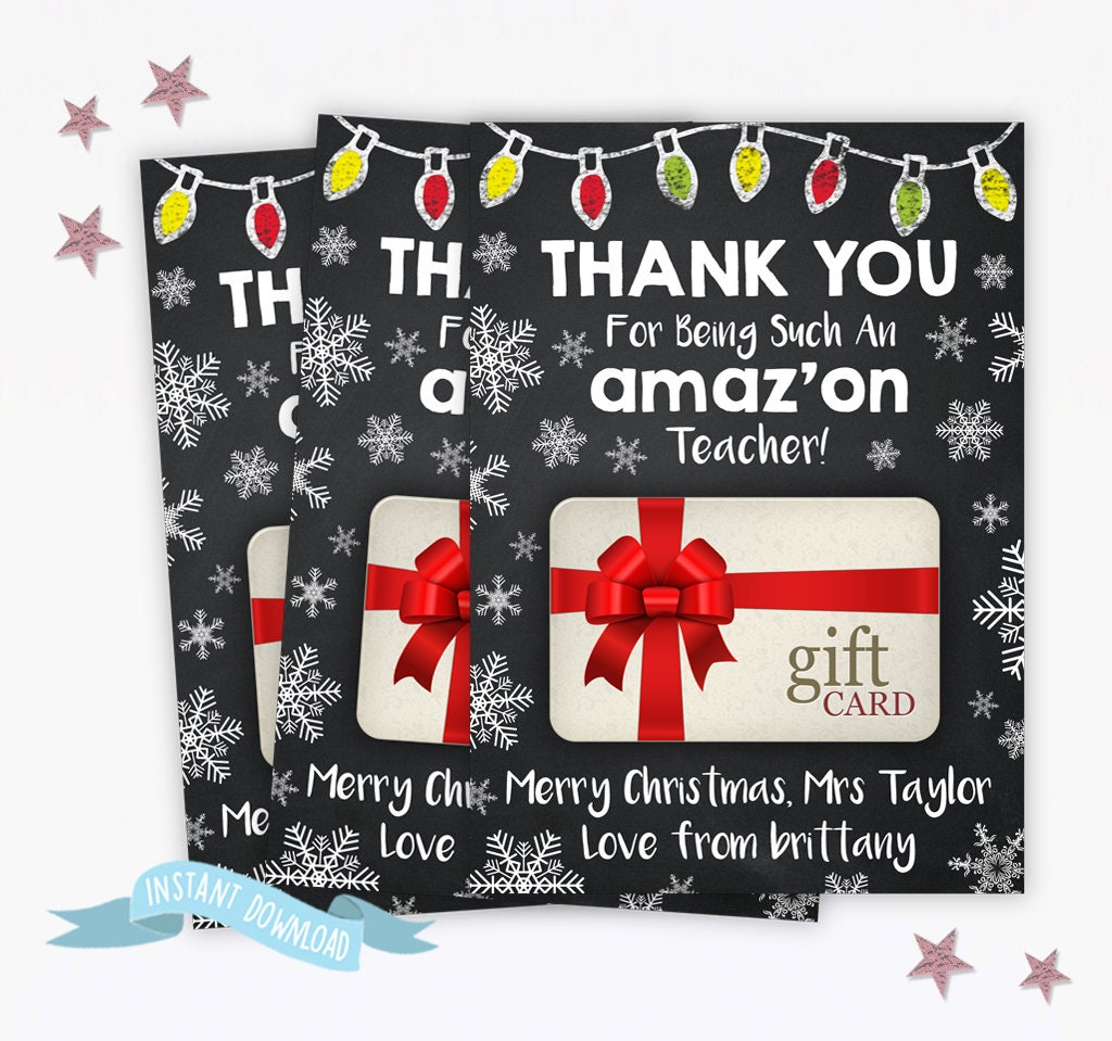 PRINTABLE Amazon Teacher Christmas Gift Card Holder CUSTOM