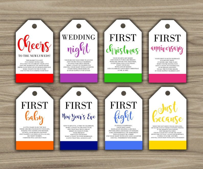 photo regarding Printable Wine Tags for Bridal Shower Gift identified as Milestone Wine Tags - Bridal Shower Reward Basket Tags - Initial Calendar year Milestone Tags - Immediate Obtain - Calendar year Of Firsts - PRINTABLE - G001