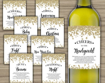 Milestone Wine Labels - Gold - Bridal Shower - Gift Basket - First Year Milestones - INSTANT DOWNLOAD - Year Of Firsts - PRINTABLE - L62