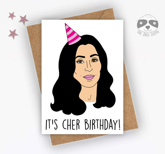"""<Span Data Inner Title="""""""">Funny Birthday Card, It's Cher Birthday, Funny Celebrity Card, Banter Card, 70s 80s Card, Music Card, Joke Friend Family   F070</Span> by Etsy"""