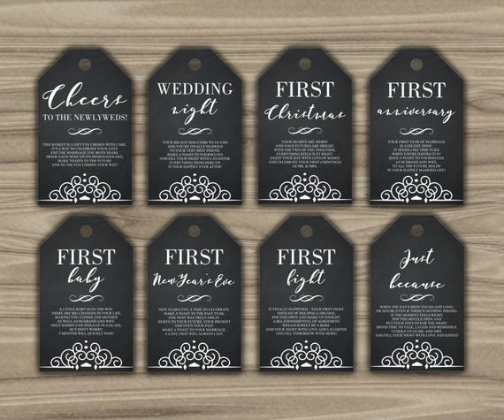 Wine Firsts Wedding Gift: Milestone Wine Tags Bridal Shower Gift Basket Tags First
