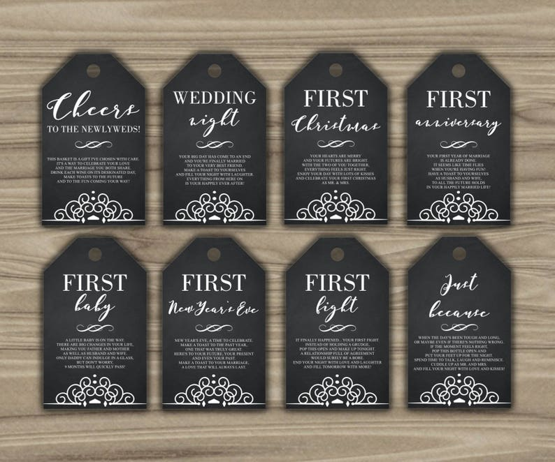 graphic about Printable Wine Tags for Bridal Shower Gift named Milestone Wine Tags - Bridal Shower Present Basket Tags - To start with Yr Milestone Tags - Quick Obtain - 12 months Of Firsts - PRINTABLE - G002