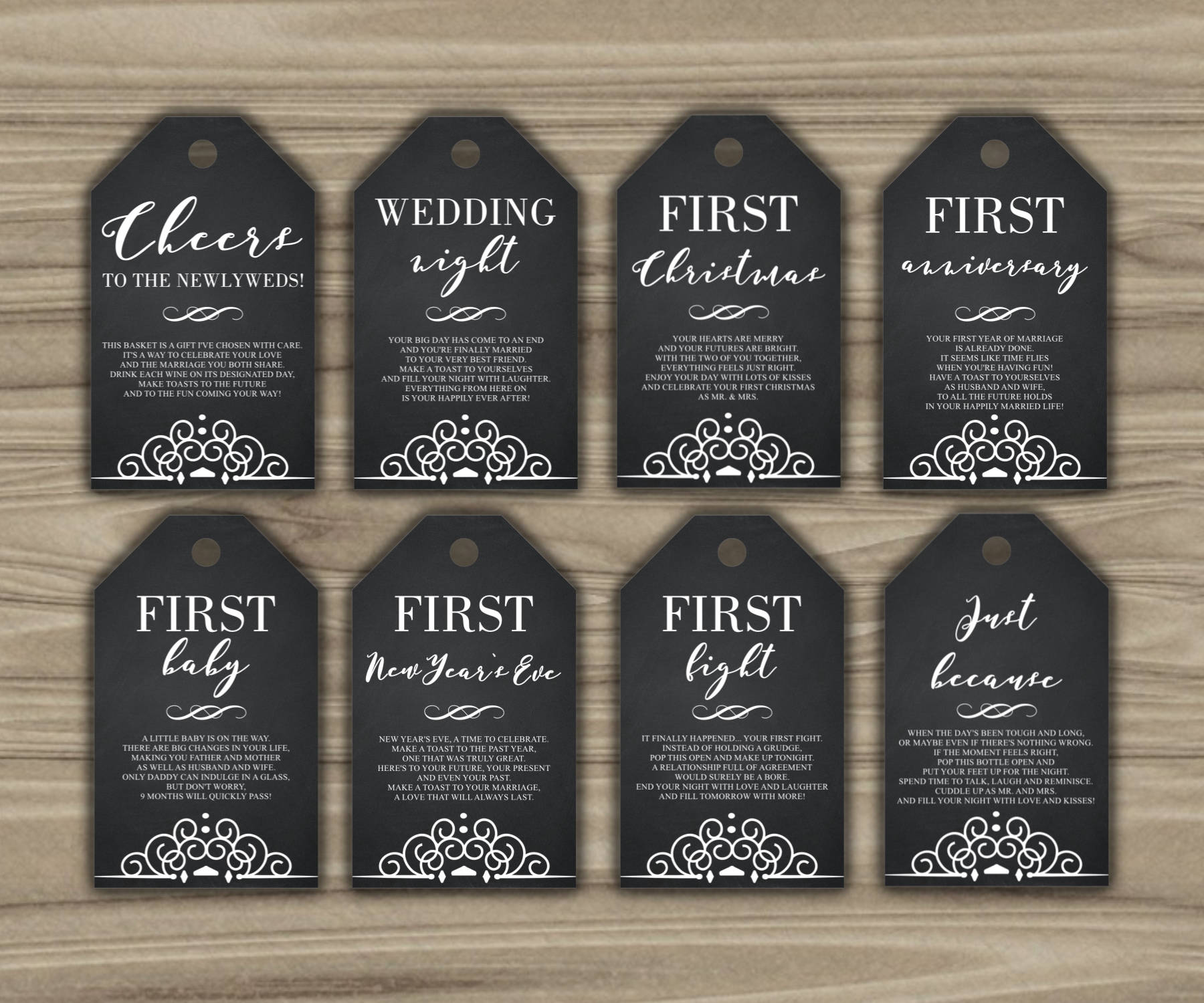 b98c4cde318 Milestone Wine Tags Bridal Shower Gift Basket Tags First