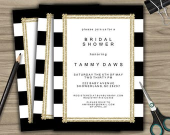 Personalized Bridal Shower Invitation - PRINTABLE - DIY - Custom Bridal Shower Invite - Black and White - Gold - L29