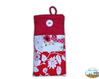 Phone Case, Smartphone Case Flowers Patchwork Red