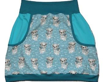 Women's pump skirt, balloon skirt size 40, dog, pug, rockabilly, mint, petrol, teal
