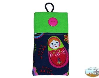 Phone case, smartphone case Matryoshka blue green