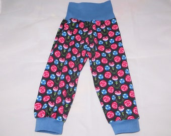 Pump Pants 86 92 Flowers Flowers grey purple pink