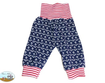 Baby Pants Blue Red White Anchor Navy 50-56