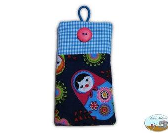 Phone case, smartphone case Matryoshka blue pink