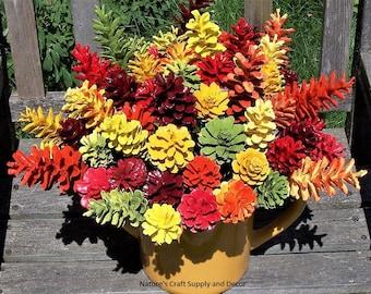 Fall Pine Cone Flowers, ONE DOZEN, ORIGINAL, on 12-inch stems.  Thanksgiving Decor.  High-quality.  Autumn.