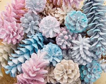 Special Occasion Pine Cones, Sparkly.  Gender reveal, winter wedding, anniversary...  Choose color (see photos) or custom.