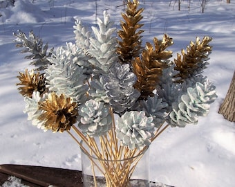 Pine Cone Flowers, One Dozen.  Sparkly Snow White and Metallic Silver and Gold.  On 12-inch stems.  Christmas, winter decor, floral picks.