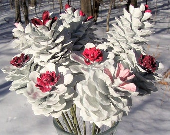 Pine Cone Flowers, the ORIGINAL.  One Dozen.  White With Pinks, Burgundy.  Valentine's Day, Mother's Day.