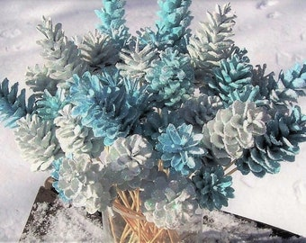 The Original Pine Cone Flowers on Stems, ONE DOZEN.  Winter Wonderland.  Blue and White or Custom Colors.