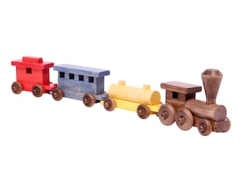 """Amish-Made 24"""" Wooden Toy Train Set"""