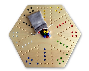 Wooden Hand-Painted Aggravation Board Game, Maple-Wood