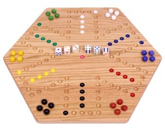 Double-Sided Aggravation Board Game, Solid Oak-Wood with Hand-Painted Holes