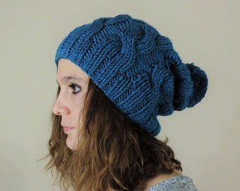 21d3a552e47 Teal (or Choose Color) Hand Knitted Beanie