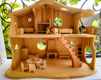 Wooden Dollhouse Etsy