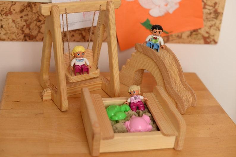 Wooden toy sandbox swing Slide Wooden dollhouse Montessori image 0