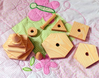 Wooden Geometric pyramid Montessori waldorf pre-school game Wooden toys Educational Toys Personalized Christmas gift photo prop Puzzles
