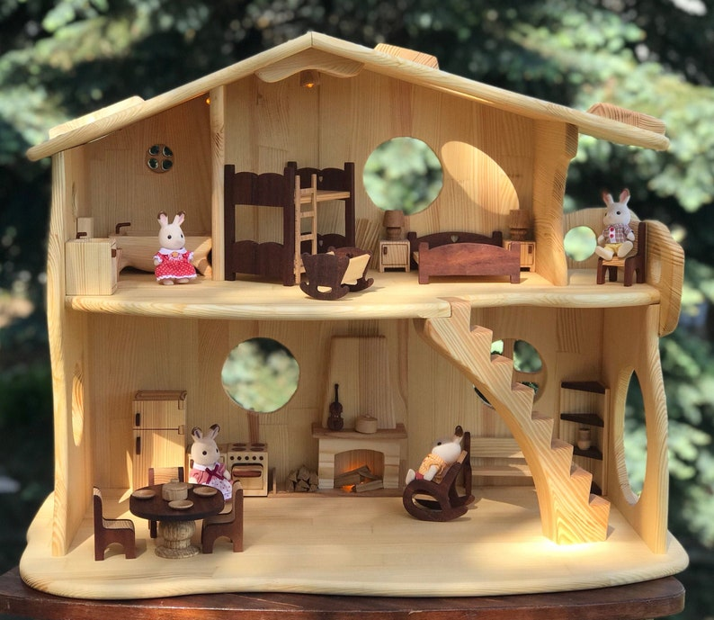 Wooden Fairy-tale illuminated Dollhouse with Fireplace & image 0