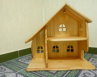 Wooden dollhouse Without Furniture Christmas gift illuminated dollhouse Montessori waldorf wooden toy multi-storey house apartments for toys