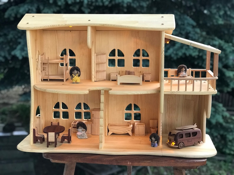 Wooden dollhouse with a Garage and Balcony With Furniture Eco image 0