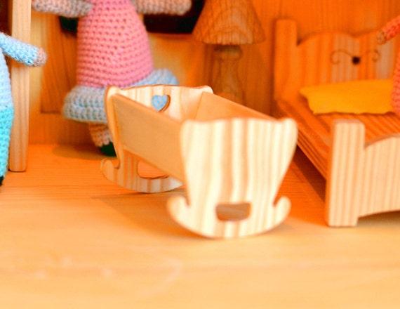 Holz wiege stubenwagen puppenhausmöbel montessori waldorf etsy