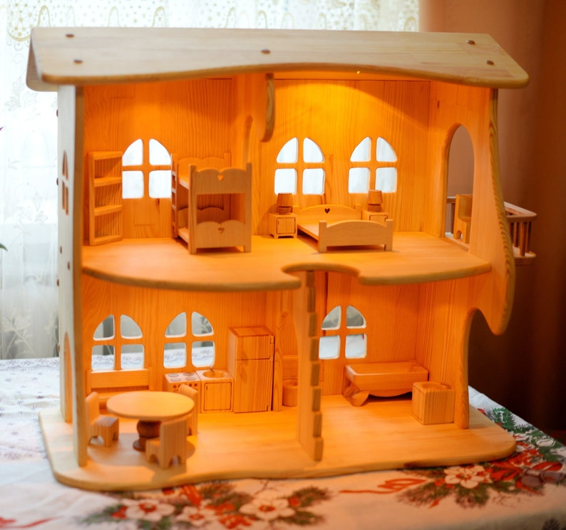 Wooden dollhouse With furniture 1:16 DollHouse Scale 3/4 image 0