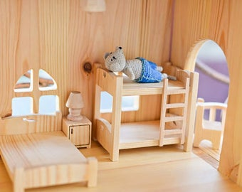 Two-story bed for doll, Wooden dollhouse furniture 1/16 scale, Montessori waldorf toys, Wooden toy furniture, Wooden furniture for dollhouse