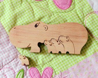 Wooden Puzzles Hippo family Eco friendly Animal  Christmas gift Personalized toy Montessori waldorf Wooden game Wooden Educational Toys