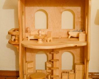 Wooden dollhouse Without Furniture Christmas wooden toys Montessori waldorf toys Wooden toy Multi-storey house Apartments for toys