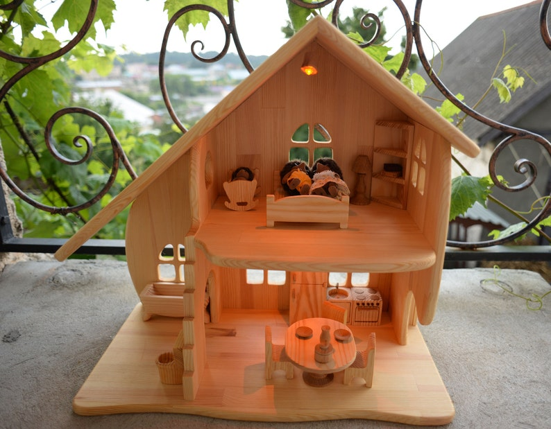 Wooden dollhouse Wooden toy illuminated dollhouse With Furniture  Multi-storey house Eco toy Apartments for toys Handmade Birthday Gift