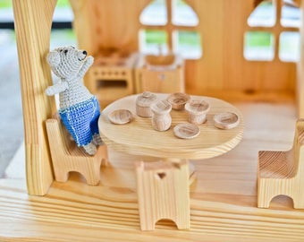 Wooden Kitchen Table Chairs Dollhouse furniture Waldorf Wooden toy furniture Personalized Christmas gift Eco Friendly Montessori waldorf toy