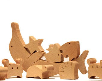 Personalized Wooden toy Wood balance fish waldorf Wooden balancing  puzzle fish  toy Educational Toy dolphin fish crab seahorse starfish