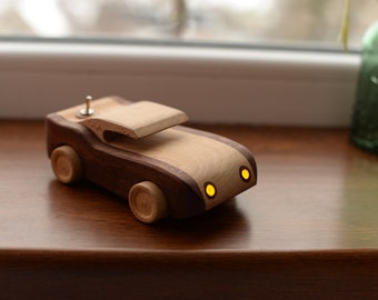 Wooden Decorative car toy Lighting Race Wooden dollhouse Kids Car with weels Eco Friendly Toy Montessori waldorf Personalized toy