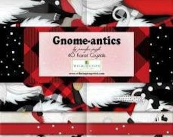 Gnome-antics 2-1/2 Inch Strips Jelly Roll Fabric, Jennifer Pugh, Wilmington Prints, Cotton Quilt Fabric, Gnome Fabric
