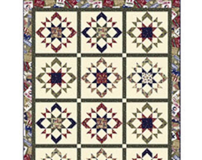 """Love My Hero Quilt Kit Quilts of Valor Suitable, Quilt Fabric, 60 1/2 x 78"""" Finished Size, Homefront Girl, Quilting Treasures."""