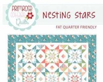 Nesting Stars Quilt Pattern, Lindsey Weight, Primrose Cottage Quilts, Quilt Pattern, Fat Quarter Friendly