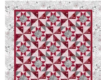 Christmas Dreams Quilt Kit Cotton Quilting Fabric, Christmas Fabric, Holiday Fabric, Snowflake Fabric, 57 1/2 x 75 1/2, Quilting Treasures.