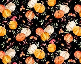 Autumn Day Black Pumpkin Toss Fabric Yardage, Nancy Mink, Wilmington Prints, Cotton Quilting Fabric, Autumn Fabric