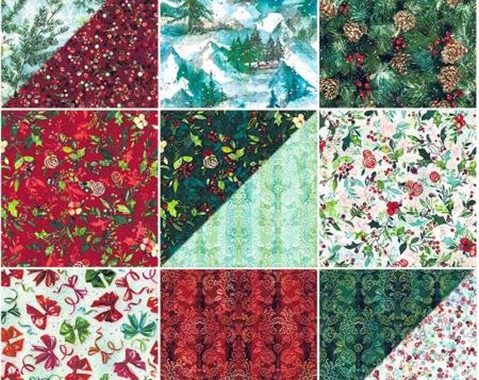 Pineview Fat Quarter Bundle, 13 Pieces, RJR, Precut Fabric, Cotton Quilting Fabric, Christmas Fabric, Winter Fabric