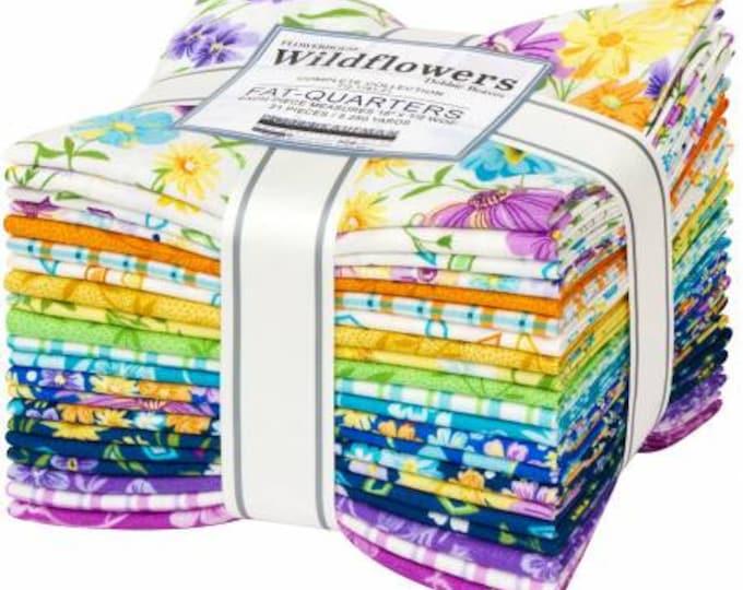 Wildflowers Fat Quarter Bundle, 21 Pieces, Debbie Beaves, Robert Kaufman, Cotton Quilt Fabric, Floral Fabric