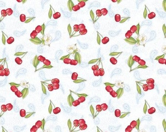 Remnant 2/3-Yard Berry Sweet White Tossed Cherries Yardage, Elyse DeNeige, Wilmington Prints, Quilt Fabric, Cotton Fabric