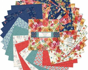 Roots of Love 5 Inch Squares Charm Pack, 42 Pieces,  Lisa Audit, Wilmington Prints, Cotton Quilt Fabric, Floral Fabric