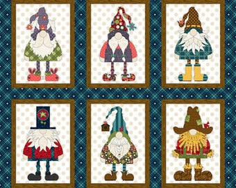 Gnome for the Holidays Navy Gnome Banner Panel Fabric Yardage, 24-Inch Panel, Leanne Anderson, Henry Glass, Cotton Quilt Fabric