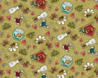 Remnant 2/3-Yard Live Love Meow Green Mouse Frog & Bird Allover Fabric Yardage, Leanne Anderson, Henry Glass, Cotton Quilting Fabric