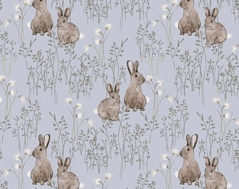 Midsummer Cotton Tail Ice Blue Fabric Yardage, Hackney and Company, Windham Fabrics, Cotton Quilting Fabric, Floral Fabric